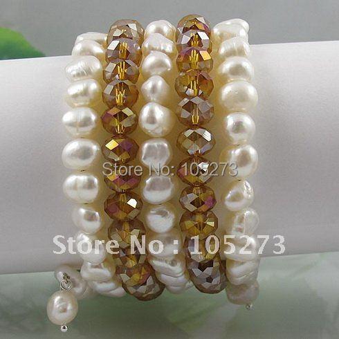 Мода жемчужный браслет AA 7-8 мм белый натуральный пресноводный жемчуг барокко формирователь и золото шампанское кристалл 5 рядов A2591