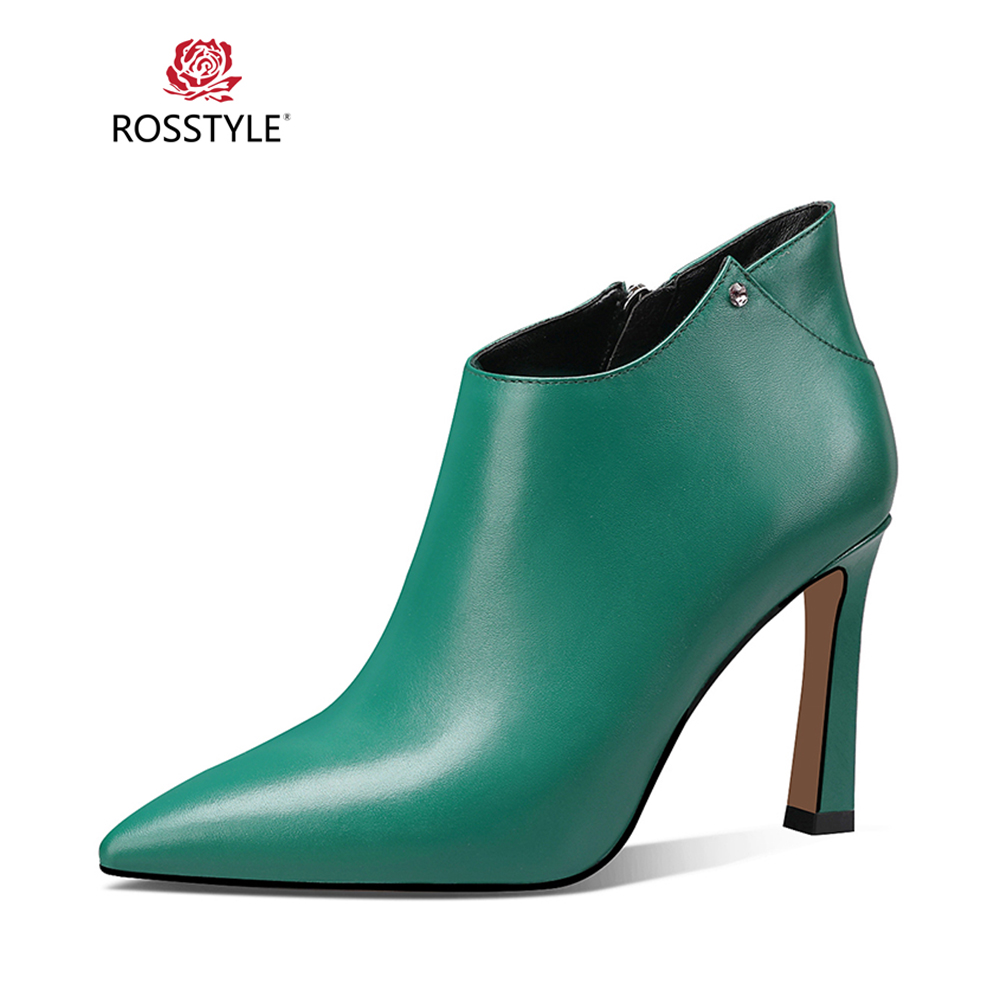 ROSSTYLE Fashion Winter Ankle Boot High Quality Genuine Leather Solid Boot Classic Zipper Sexy Thin Heels Office Lady Boots B52ROSSTYLE Fashion Winter Ankle Boot High Quality Genuine Leather Solid Boot Classic Zipper Sexy Thin Heels Office Lady Boots B52
