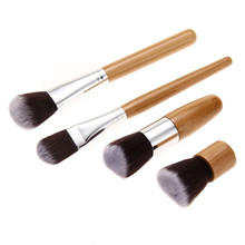 4Pieces Authentic Bamboo Handle Brushes Makeup Flat Brushes Cosmetics Professional Makeup Brush Set Hairbrush