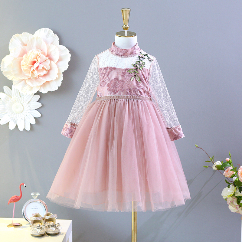 5315 Princess Ruffles Button Kint Wool Baby Girls Dresses Autumn Fall Winter Kids Dresses For Girls Wholesale Baby Girl Clothes Mother & Kids Dresses
