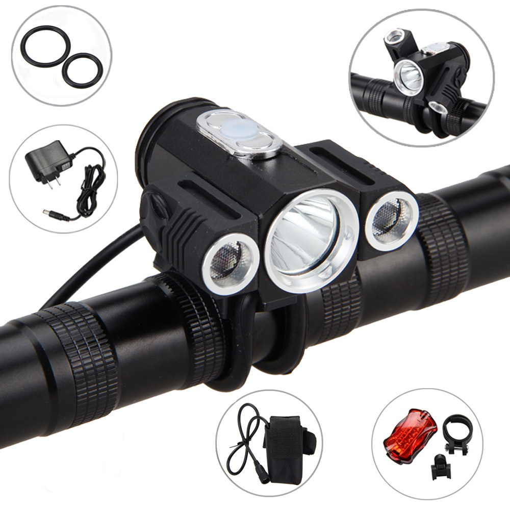 10000LM 3x XML T6 LED 4.2v Adjust Angle Front Bicycle light Bike Lamp Headlamp Headlight with Battery+Back Tail Light 30000lm 14x xml t6 led head front bycicle lights bike light head light headlamp battery pack tail light