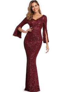 YIDINGZS Evening-Dress Burgund Mermaid Long-Sleeve Formal Elegant YD782