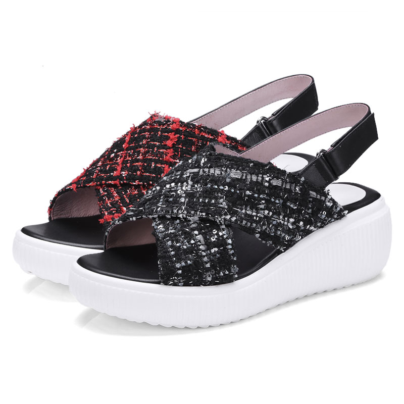 e1d3f33675fe6 Fanyuan New Arrivals Women s Summer Footwear Plaid Cloth Platform Shoes  Ankle Strappy Sandals Genuine Leather Casual Shoes -in High Heels from Shoes  on ...