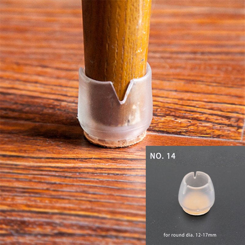 4pc Small Non-slip Round Home Chair Leg Foot Protect Felt Pad Furniture Table Sofa Base Cap Cover Floor Protection Silence NO.14