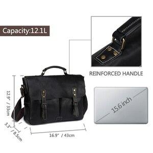 Image 3 - Мужской портфель из воловьей кожи VASCHY, винтажная деловая сумка мессенджер ручной работы для ноутбука 15,6 дюйма, 2019
