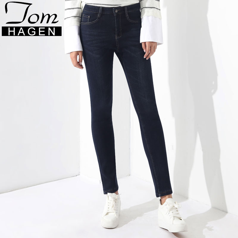 Tom Hagen Warm Cotton Skinny Jeans Woman High Waist For Ladies Jeans Trousers Plus Size Winter Casual Denim Stretch Pencil Pants