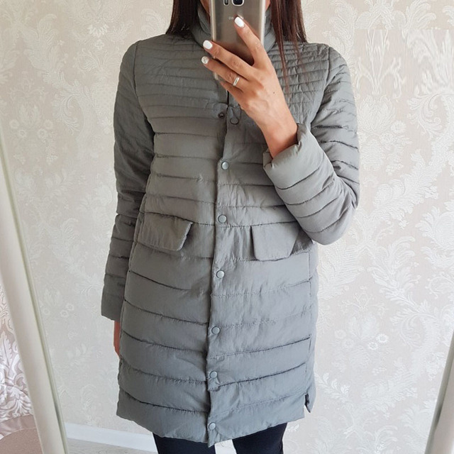2017 new fashion cotton jacket female slim long cotton-padded jackets single breasted coat beautiful outwears winter jacket