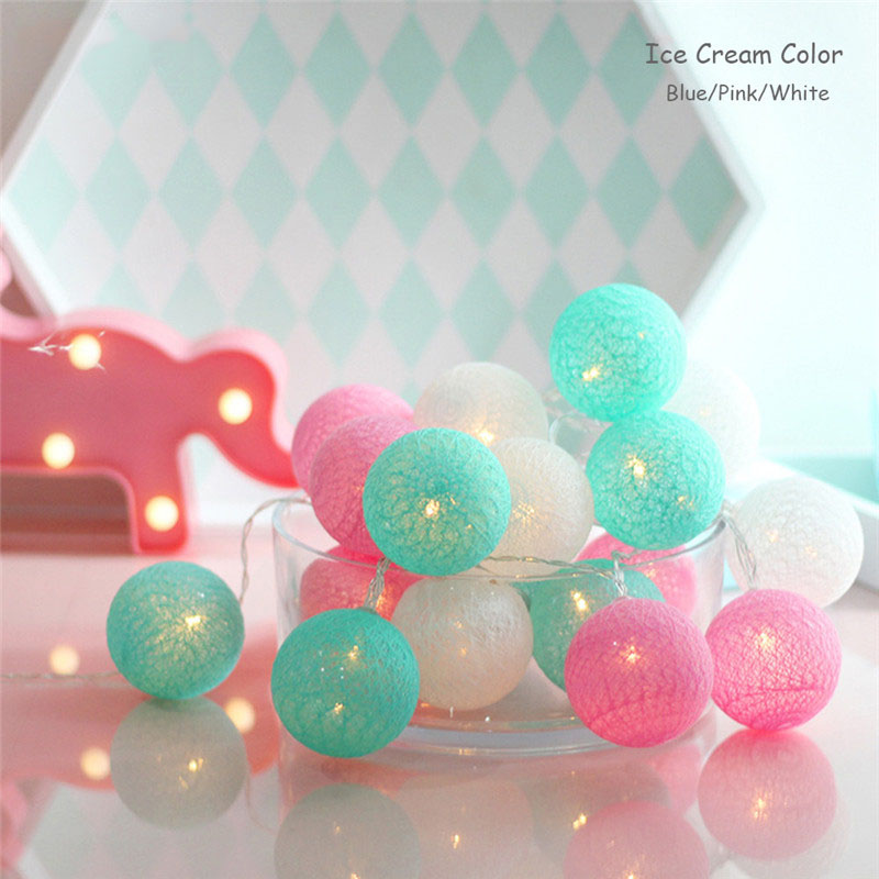 3M 20LED Cotton Ball Led String Light Battery Operated Indoor Outdoor Decal Wedding Garden Party Bedroom Christmas Decoration DA
