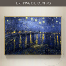 Excellent Artist Reproduce Van Gogh 1888s Starry Night Oil Painting for Wall Decor Hand-painted Landscape