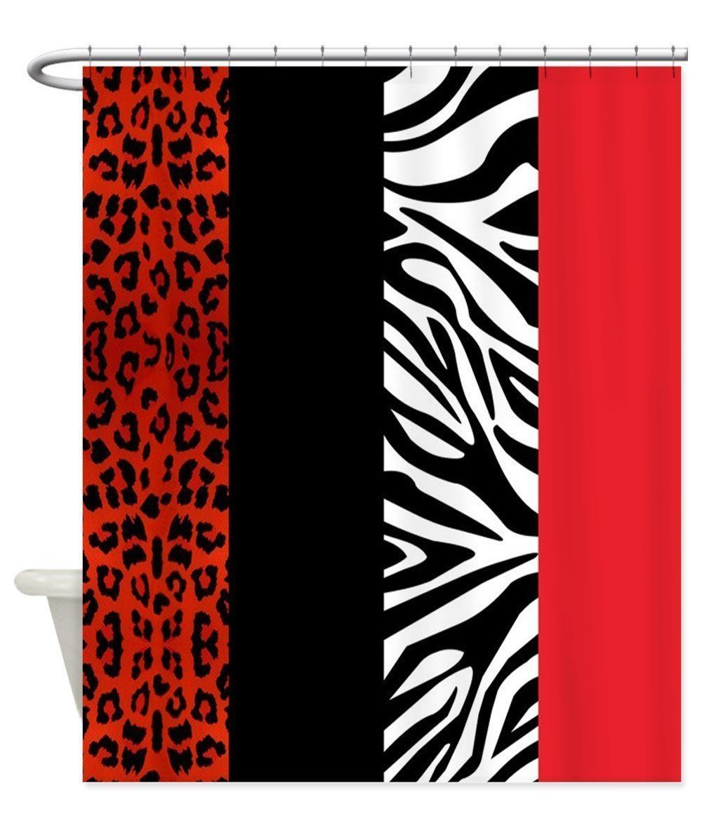 Leopard shower curtain - Memory Home Decorative Red Leopard And Zebra Animal Print Fabric Shower Curtain Fashion Polyester Bathroom Accessories