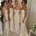 Gorgeous Sweetheart Off the Shoulder Long Bridesmaid Dresses Beaded Appliques Floor Length Sheath Wedding Party Dress Gowns