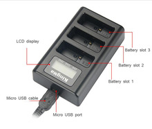 3 channels battery charger USB charger with LCD display for Gopro Hero 5 Action camera spare parts