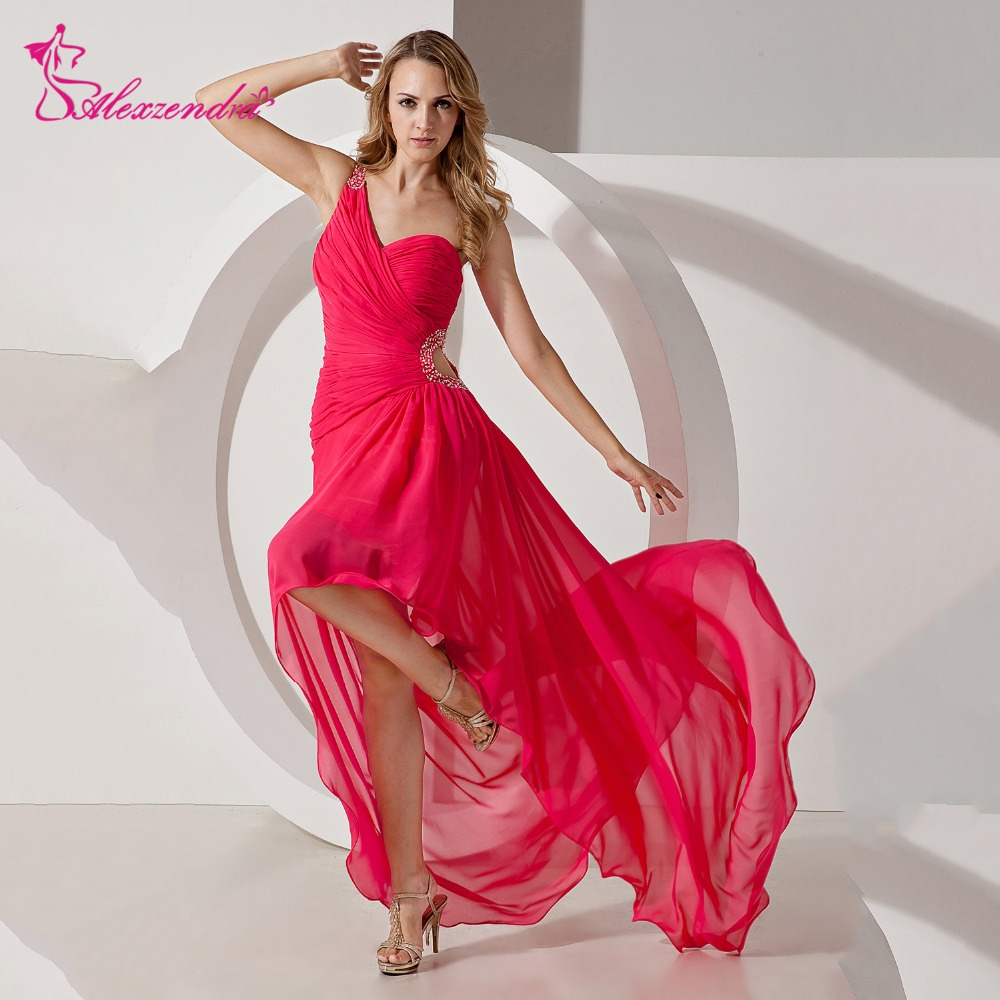 Alexzendra Red Chiffon One Shoulder   Prom     Dresses   High Low Party   Dress   Evening   Dresses   Plus Size