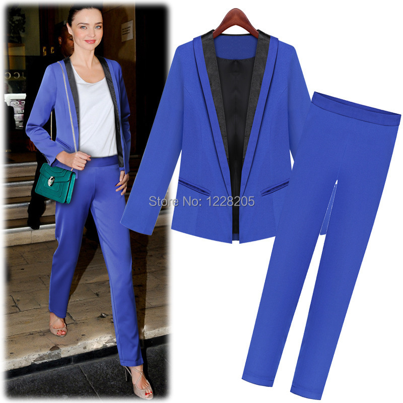 Online Shop Blue women's pantsuits womens business suit set formal ...