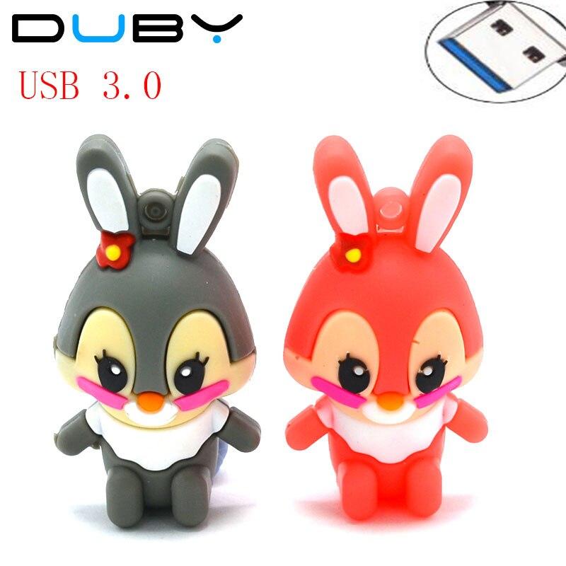 NEW Memory Stick Cartoon Pen Drive 32GB 16GB 8GB Rabbit Pendrive USB Flash Drive 3.0 Creativo Mini USB Stick 4GB U disk Gift