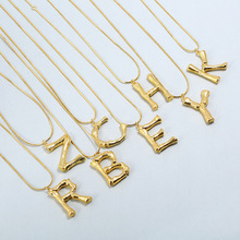 Peri'sBox 2018 New Gold Color Big Letter Pendant Necklaces Bohemia Matel Bamboo Layering Necklace Statement Large Choker Chokers
