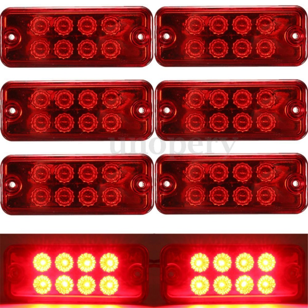 CYAN SOIL BAY 6pcs Red 12V 8 LED Side Marker Light Lamp Truck Trailer Lorry Caravan Waterproof 24V
