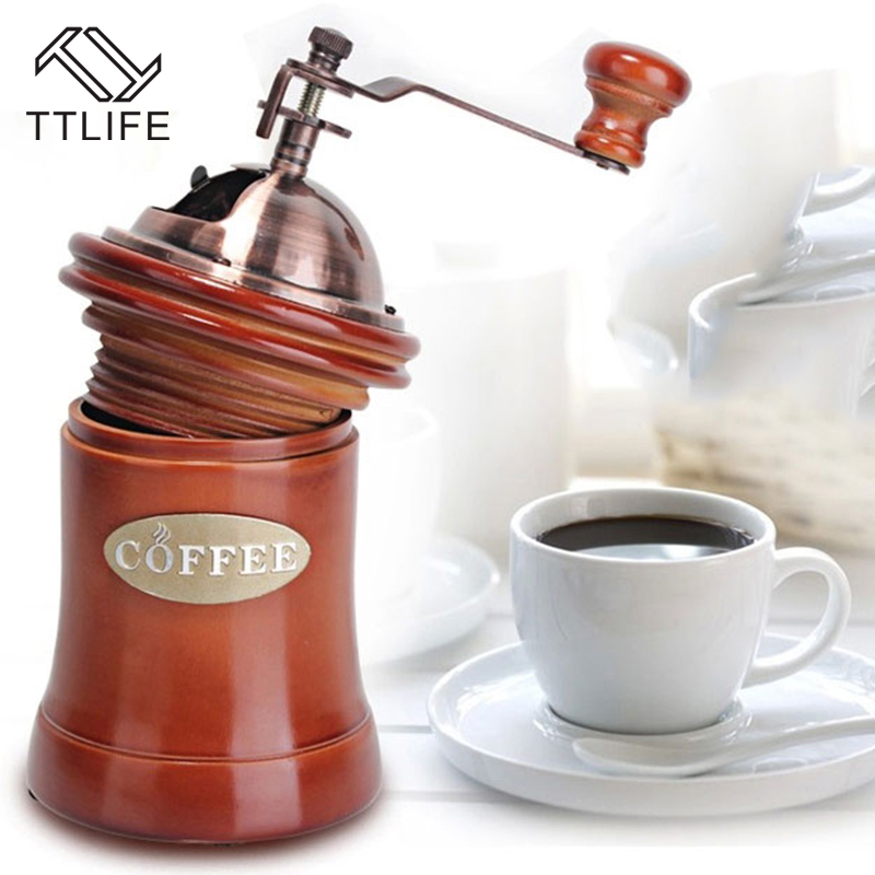TTLIFE 2017 New Sale Hand Coffee Grinder Wooden And Metal Design Household Mini Manual Coffee Mill