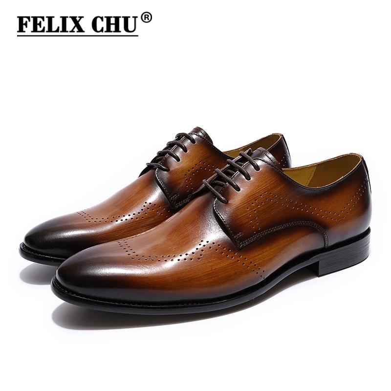 FELIX CHU elegant men dress shoes genuine leather plain toe derby shoes black brown mens oxford formal shoes leather size 39 46