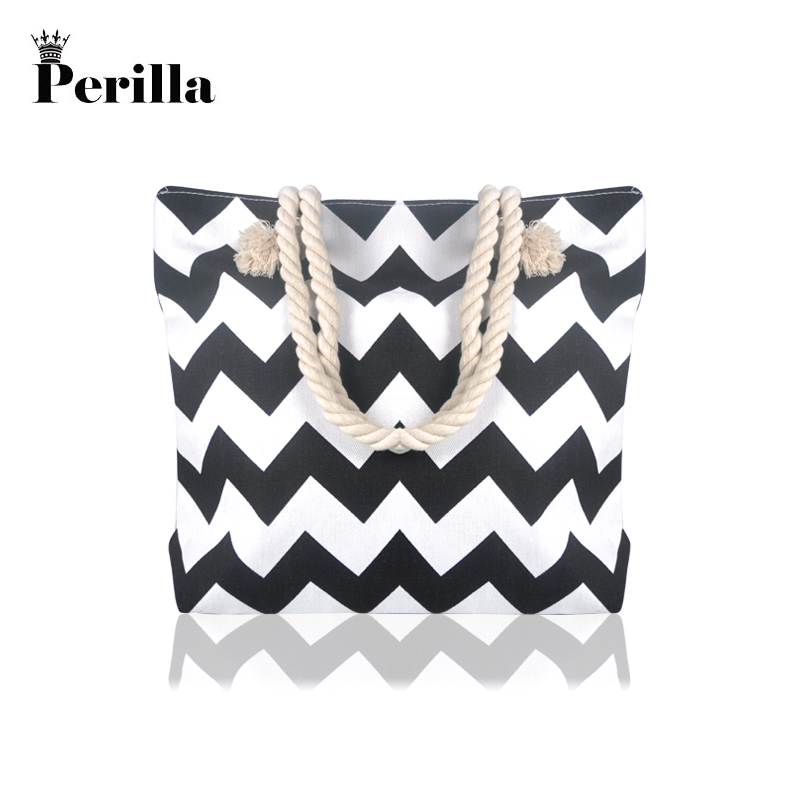 Perilla Brand Casual Women Floral Large Capacity Tote Canvas Shoulder Bag Beach Bags Casual Tote Feminina Shopping Bags