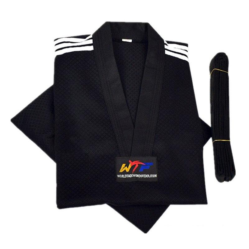 цена на Taekwondo Dobok Long-sleeve Tae kwon do Uniform Karate Clothes Proffesional Taekwondo Trainers Black Stripe Clothing kids adult
