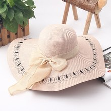 Embroidered Straw Hat With Bow