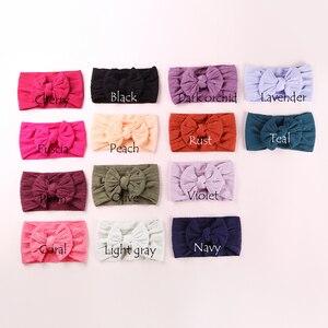 Image 4 - 100 pcs/lot, Großhandel Kabel Stricken Nylon Bogen Headwraps, Klassische Knoten breite nylon stirnbänder, kinder Mädchen Haar Zubehör