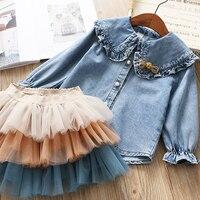 IYEAL Girls Clothing Sets 2019 New Spring Kids Clothes Long Sleeve Denim Shirts+Tutu Cake Skirt 2Pcs Children Toddler Outfit