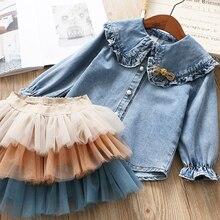 IYEAL Girls Clothing Sets 2020 New Spring Kids Clothes Long Sleeve Denim Shirts+Tutu Cake Skirt 2Pcs Children Toddler Outfit