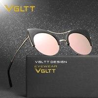 VGLTT Cateye Sunglasses Women Rose Gold Mirror Brand Designer Female Cat Eye Sun Glasses Metal Retro