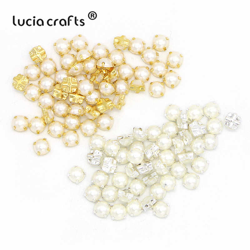 Lucia crafts 100pcs/lot 7mm Plating pearl Rhinestone Beads Sew On Rhinestones for Garment DIY Bag shoes accessories G1104