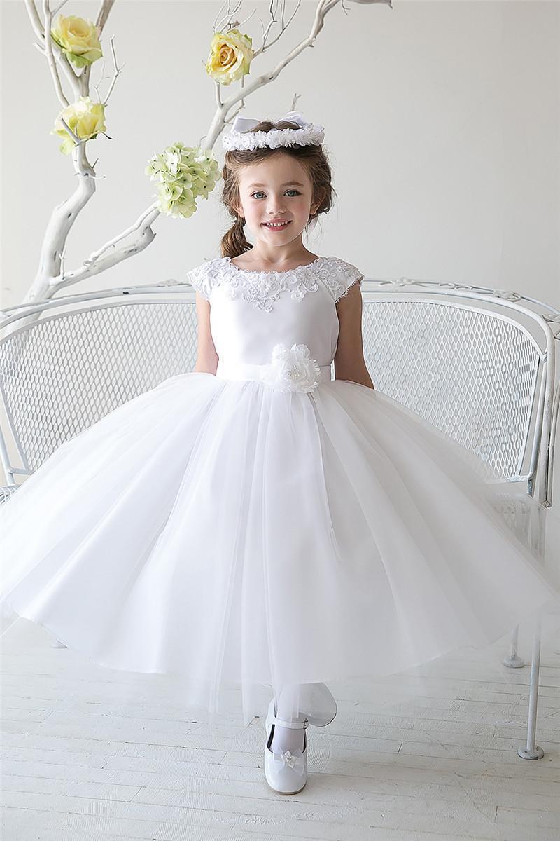2015 Lovely White   Flower     Girls     Dresses   Tea Length Embroidery Handmade   Flowers   Cheap Little   Girls   Formal Gown GL