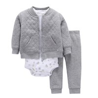 3Pcs Set Baby Boy Clothes Sets Long Sleeved Hooded Coat Cartoon Pattern Romper Pants Casual Baby