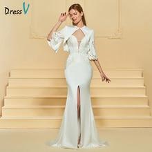 Dressv Long Ivory Bröllopsklänning Sweep Train Appliques Split-Front Sjöjungfru Med Jacka 2018 Custom Wedding Dress Bröllopsklänning