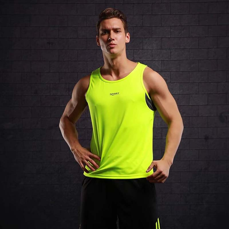 New Quickly Dry Mens Running Shirts Compression Tights Gym Tank Top font b Fitness b font