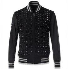 Hip Hop Winter Streetwear Mens Jacket and Coats Rivet Stage Wear Cool Baseball Coats Rivet Collar Men 's Locomotive Jackets C013