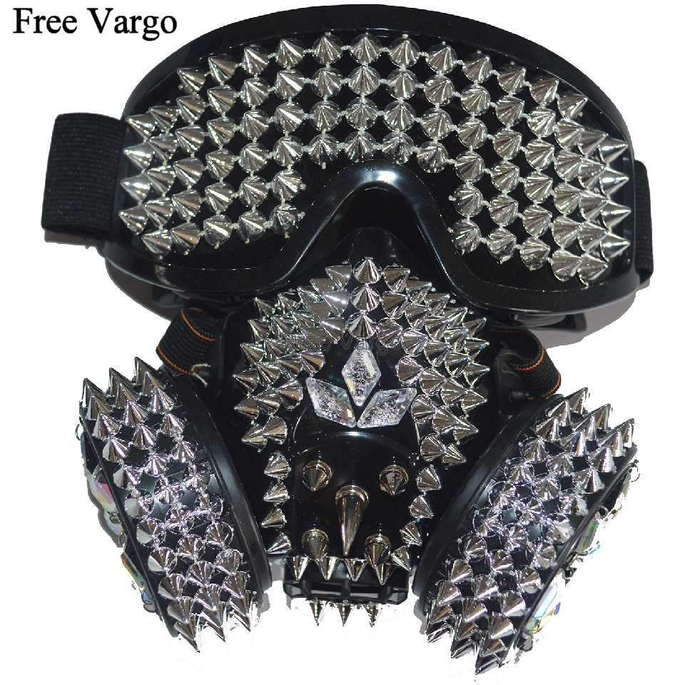 Holographic Rave Halloween Streampunk Burning Man Spike Rivet Costume Cyber Goth Masquerade Gas Mask Goggles Cosplay Outfit