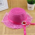 Niño Sombrero de verano Kids Girls Lace Partido de Paja de Ala Playa Viajar Casquillo de Sun