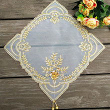 Square 28cm European Lace Placemat Fabric Embroidered Coaster Cushion Jewelry Pad Coffee Cup Table Mat Dust Cover Cloth