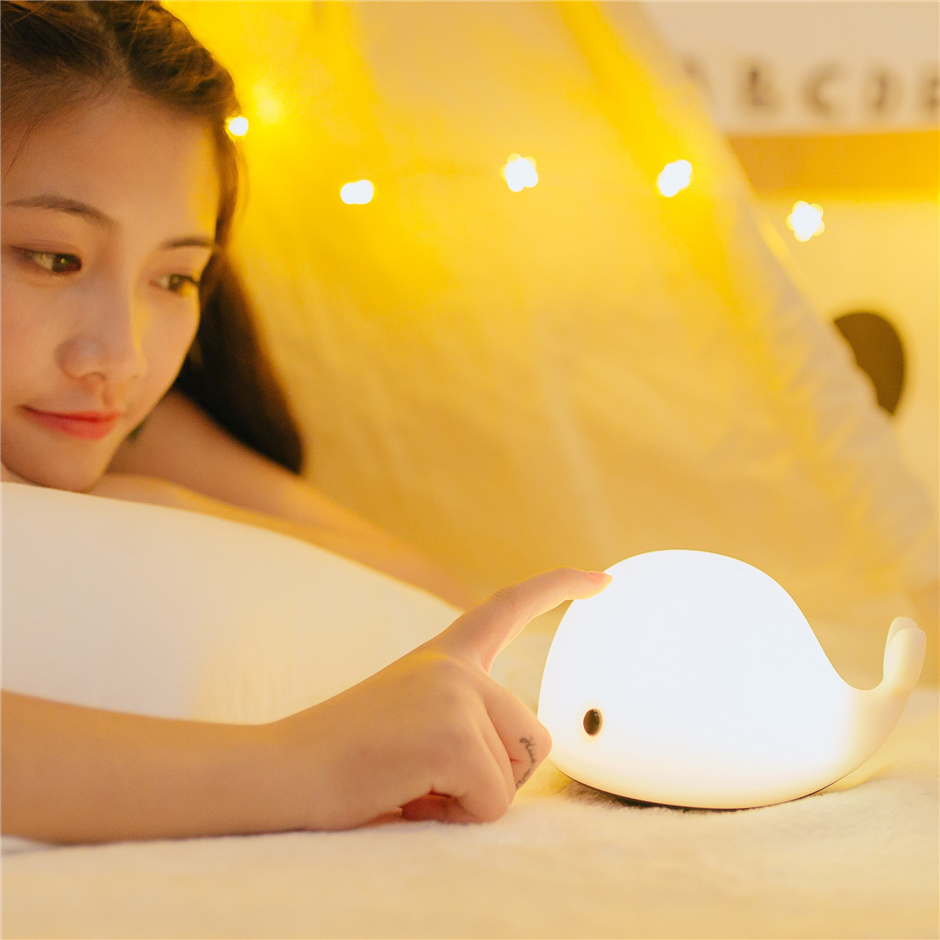 7 Colors Cute Elephant Led Night Light Luminaria Usb Charge Soft Onefire Clover Lamp Desk Lights Baby Room Whale Cartoon Kids Bed Table Sleeping Lamps With