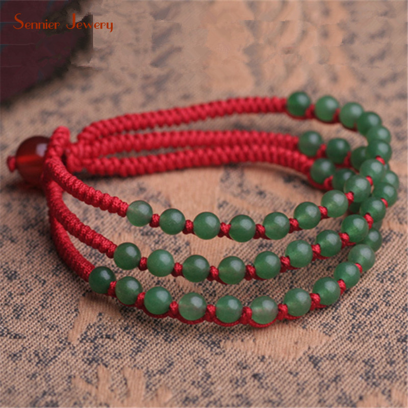 Sennier Dong Ling Stone Red Rope Lucky Bracelets Women Men Charm Bracelet Hand Knotted Jewelry Accessorie Gift Drop Shipping