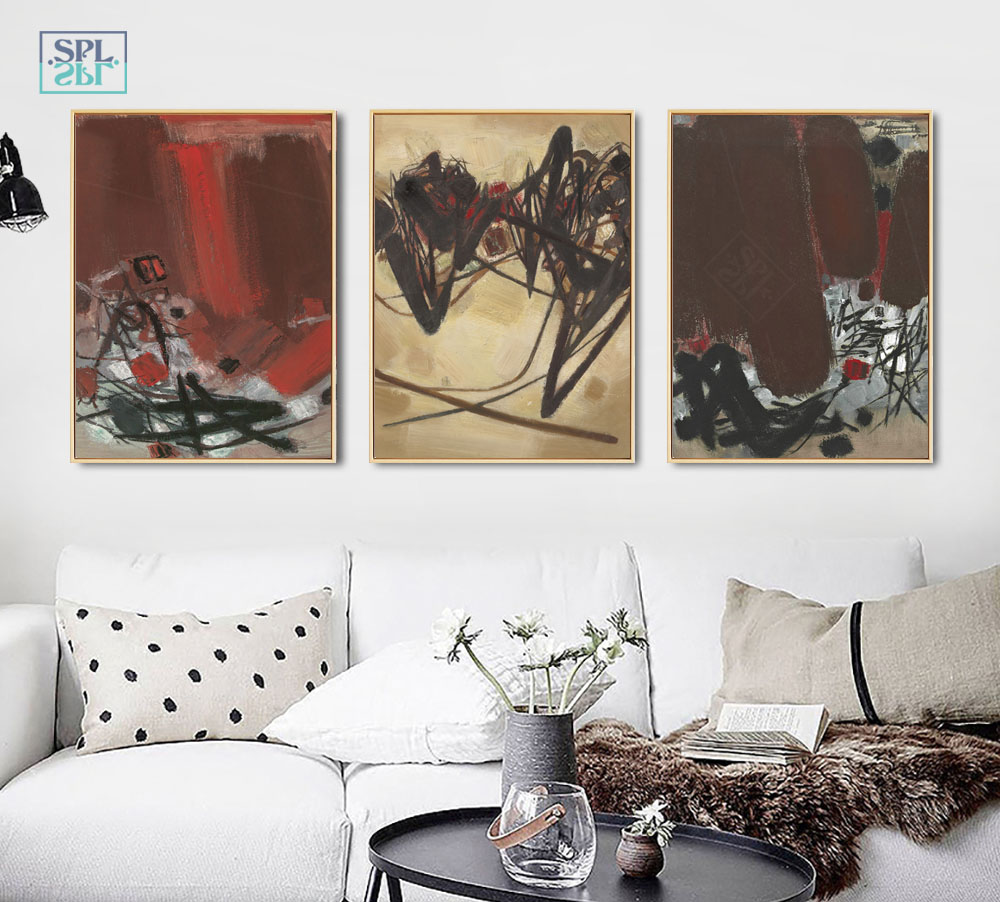 SPLSPL Abstract Red Ink Landscape Canvas Art Abstract Painting Nordic Home Decor For Living Room Wall Printed Picture Poster