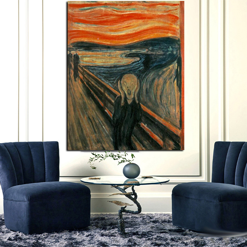 Digital HD Prints Edvard Munch Scream Abstract Oil Painting on Canvas Art Poster Wall Picture for Living Room Home Cuadros Decor (2)