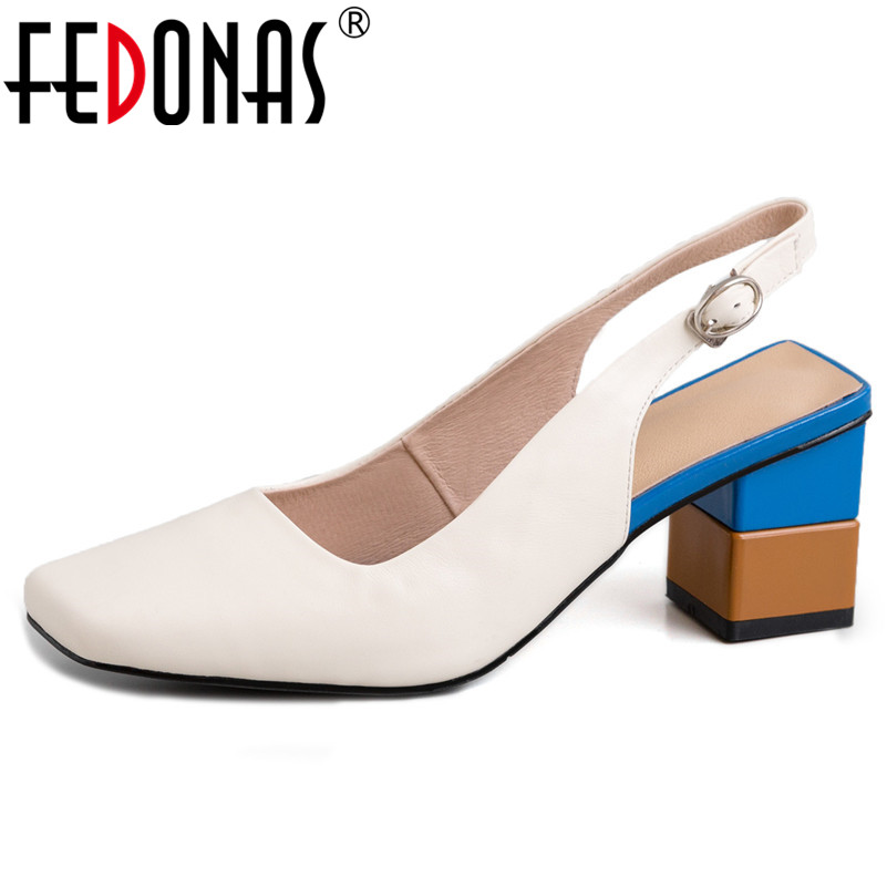 FEDONAS Casual Women Genuine Leather High Heels Fashion Casual Party Sandals Summer Shoes Woman Square Heels