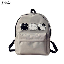 Xiniu Backpack Women Canvas Cartoon Animals Printing Backpacks For Teenage Girls  Rucksacks Mochila Lona #2811