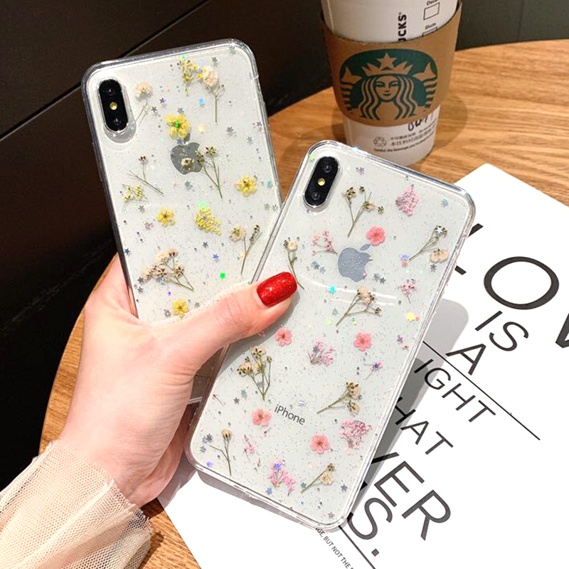 Real Dried Flower Case For iPhone 7 8 Plus XS Max XR XS X 6 6SCase Handmade Clear Soft TPU Fresh Flower Phone Back Cover Fundas (3)