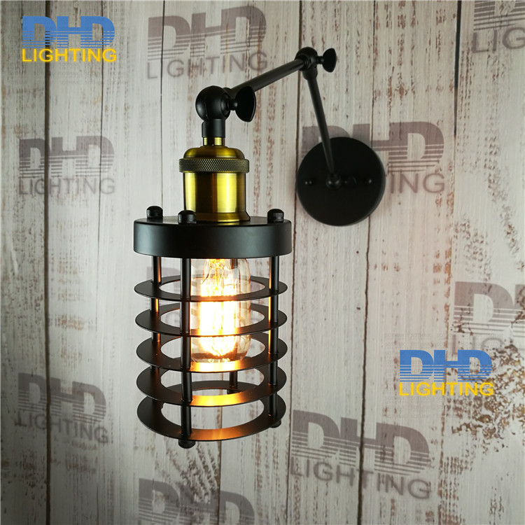 Free shipping 2 arm cage vintage wall light copper iron hanging lamp wall sconce home decor restaurant luminarias abajour 2017 american vintage clear glass pendant light copper hanging lamp e27 light bulbs for home decor restaurant luminarias abajour