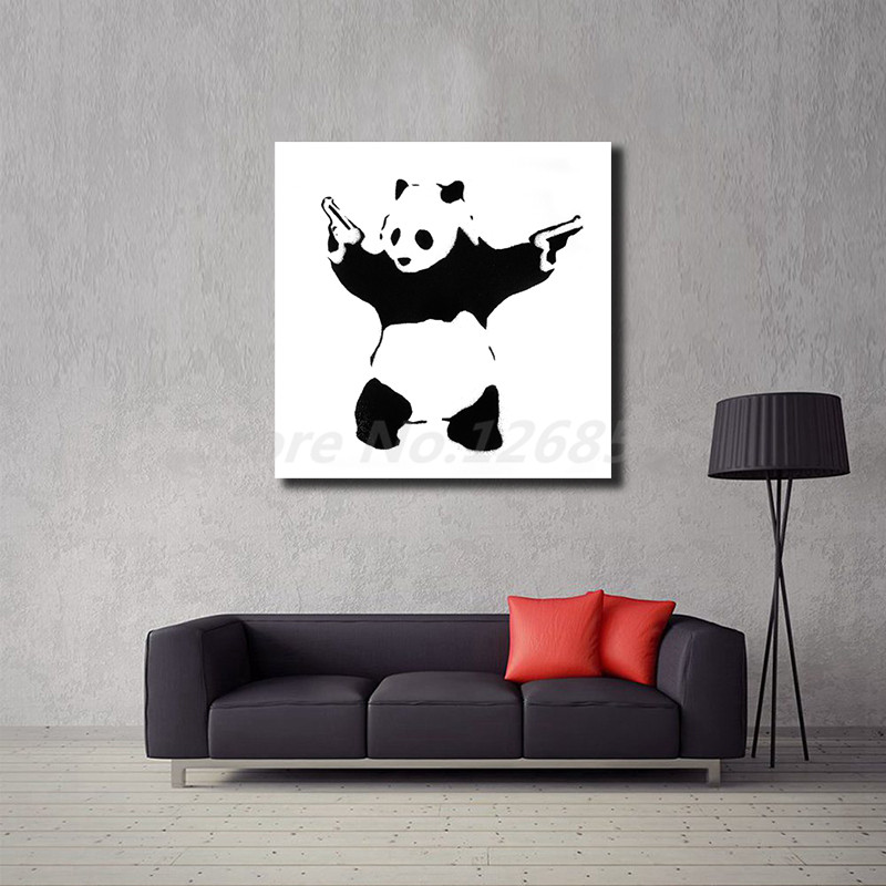 BANKSY PANDA GUNS CANVAS FRAMED PICTURES WALL ART PRINT Various Sizes