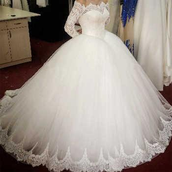 Fansmile Long Sleeve Lace Ball Gown Wedding Dresses 2020 Vestido De Noiva Customized Plus Size Wedding Bridal Dress FSM-487T - DISCOUNT ITEM  32 OFF Weddings & Events