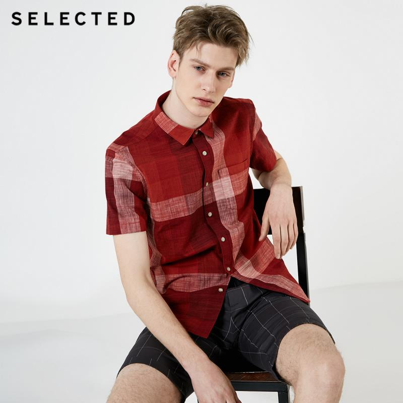 SELECTED Men's 100% Cotton Slim Fit Short-sleeved Checked Shirt S|419204532